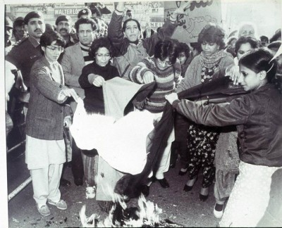 February 1983: Lala Rukh (far left) along with other members of the WAF burning their chaadars to protest the Islamisation under Zia-ul-Haq's regime.  Photograph by Rahat Ali Dar